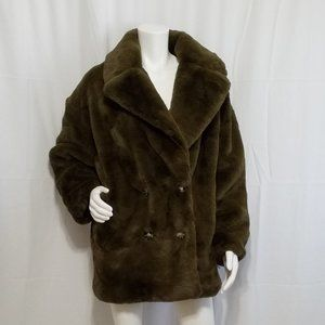 TopShop Coat Vegan Fur Soft Pockets Size M